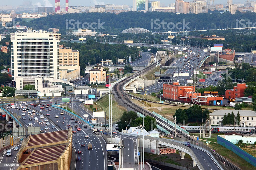 Many cars on third transport ring, railroad, Panorama of Moscow royalty-free stock photo
