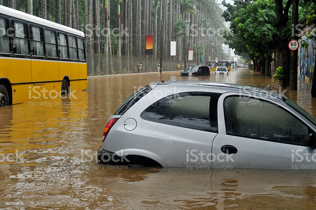 Many cars trapped on a flooded street royalty-free stock photo