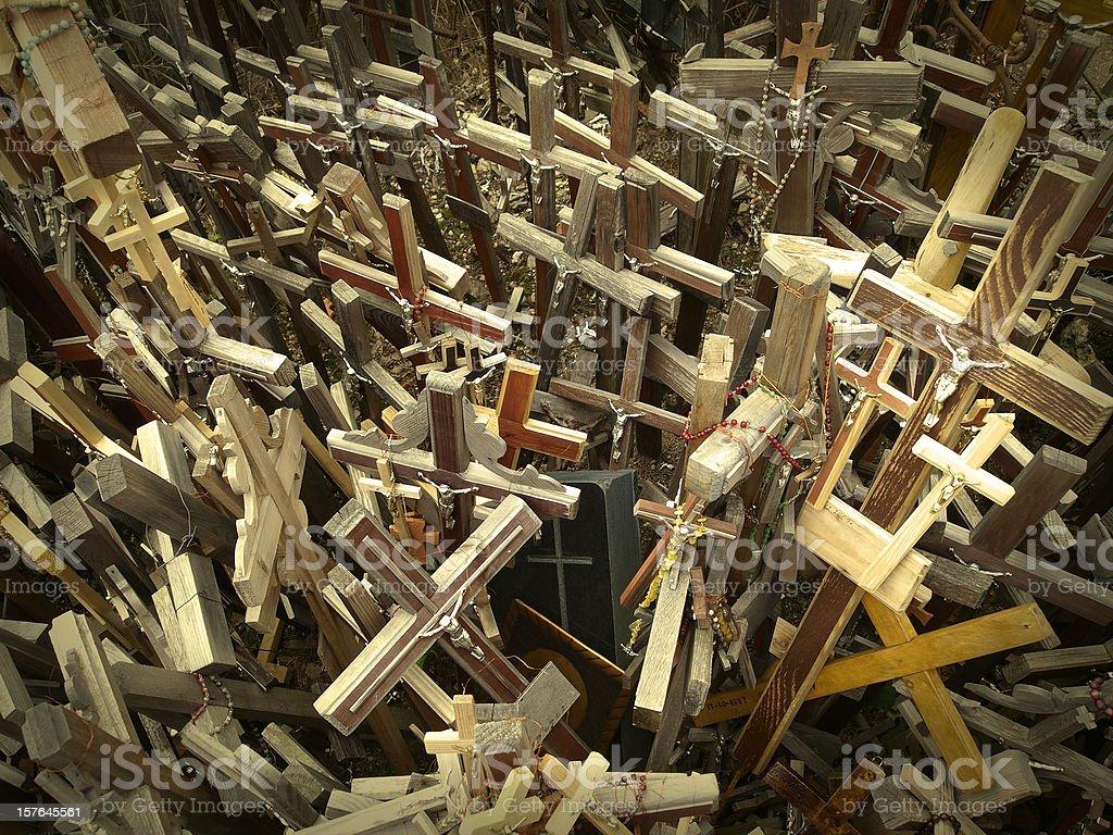 Many Catholic Crosses with the likeness of Jesus Christ royalty-free stock photo
