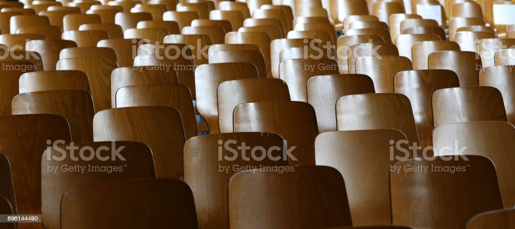 Many chairs in the auditorium stock photo