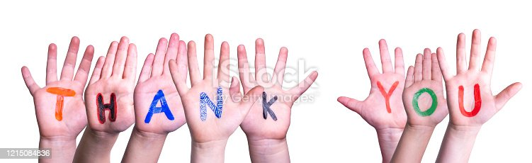 516544386 istock photo Many Children Hands Building Word Thank You, Isolated Background 1215084836