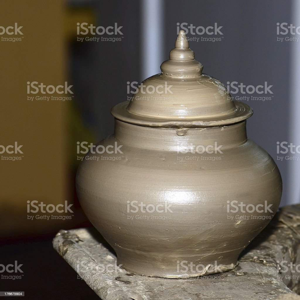 Many clay cups kept for drying royalty-free stock photo