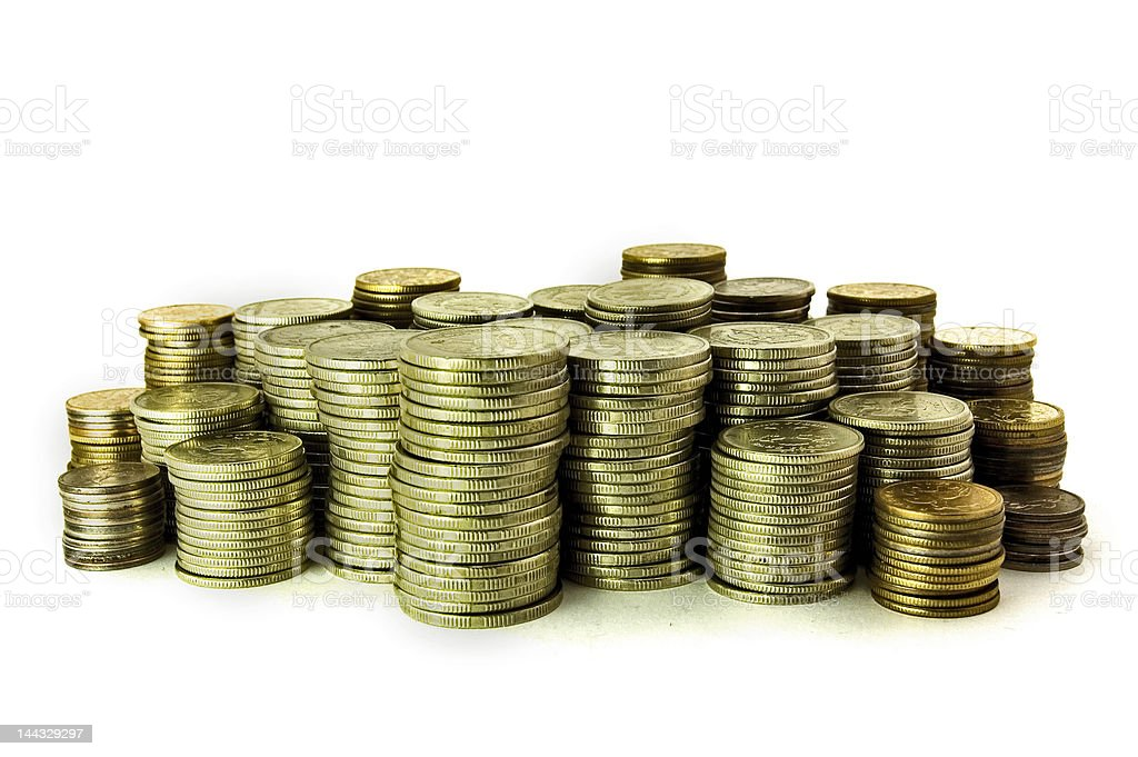 many coins rouleaus royalty-free stock photo