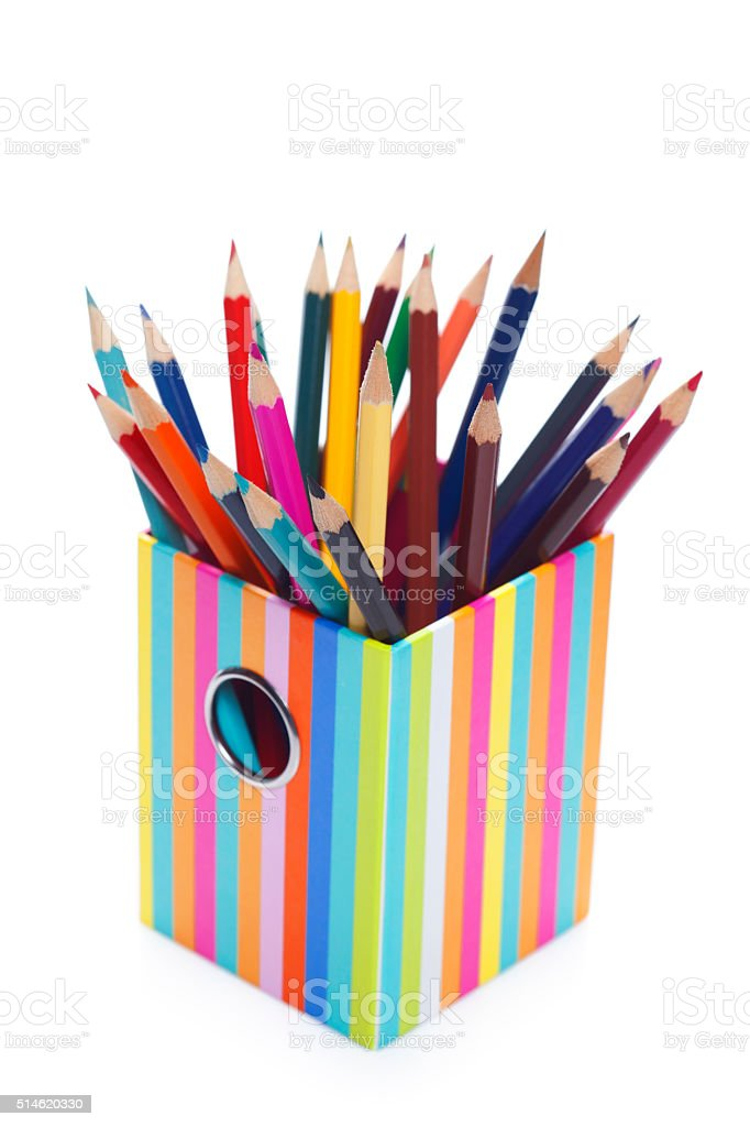 Many Color Pencils In Holder Stock Photo - Download Image ...