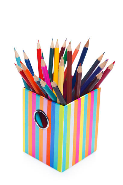 Many color pencils in holder stock photo