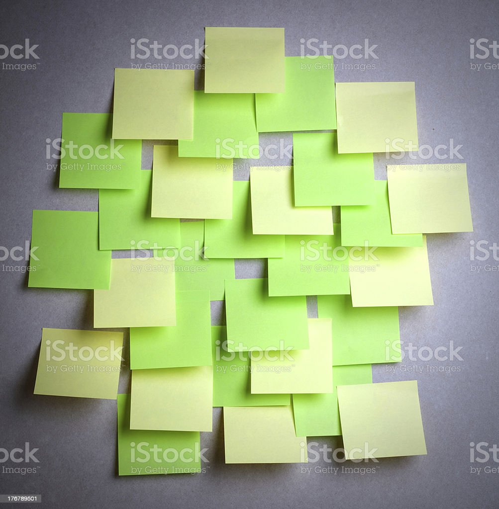 Many colored empty sticker notes on wall royalty-free stock photo