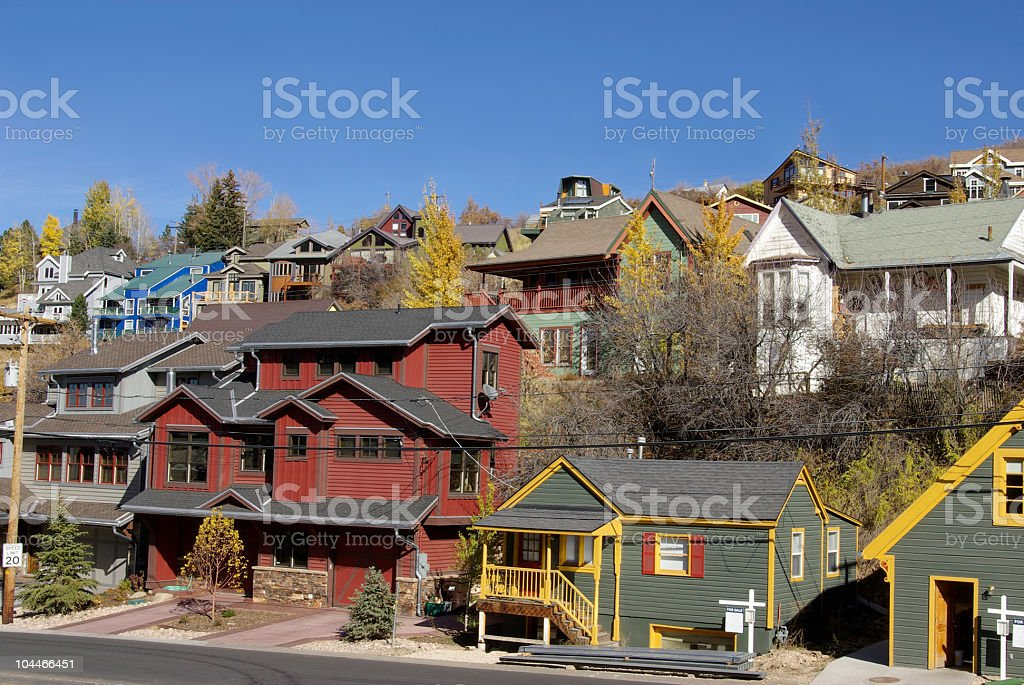 Many colored houses stock photo