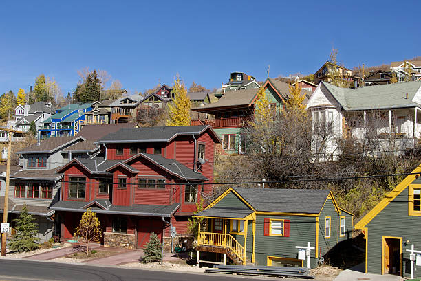 many colored houses - mikefahl stock pictures, royalty-free photos & images