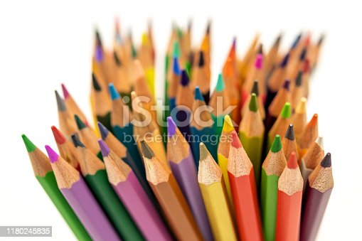 1137970382 istock photo Many colored pencils as a colorful background 1180245835
