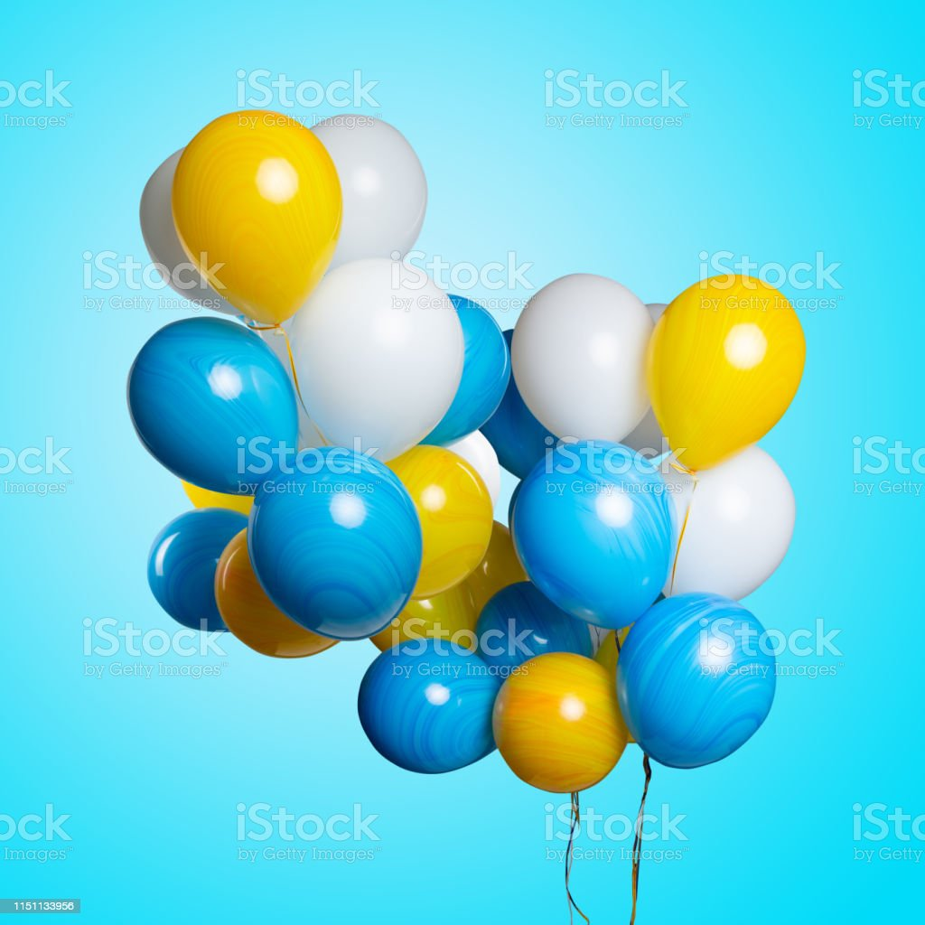 Many colorful balloons isolated on blue turquoise background....