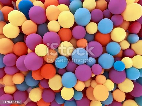 istock Many colorful festive balloons decorated wall as background 1175090267