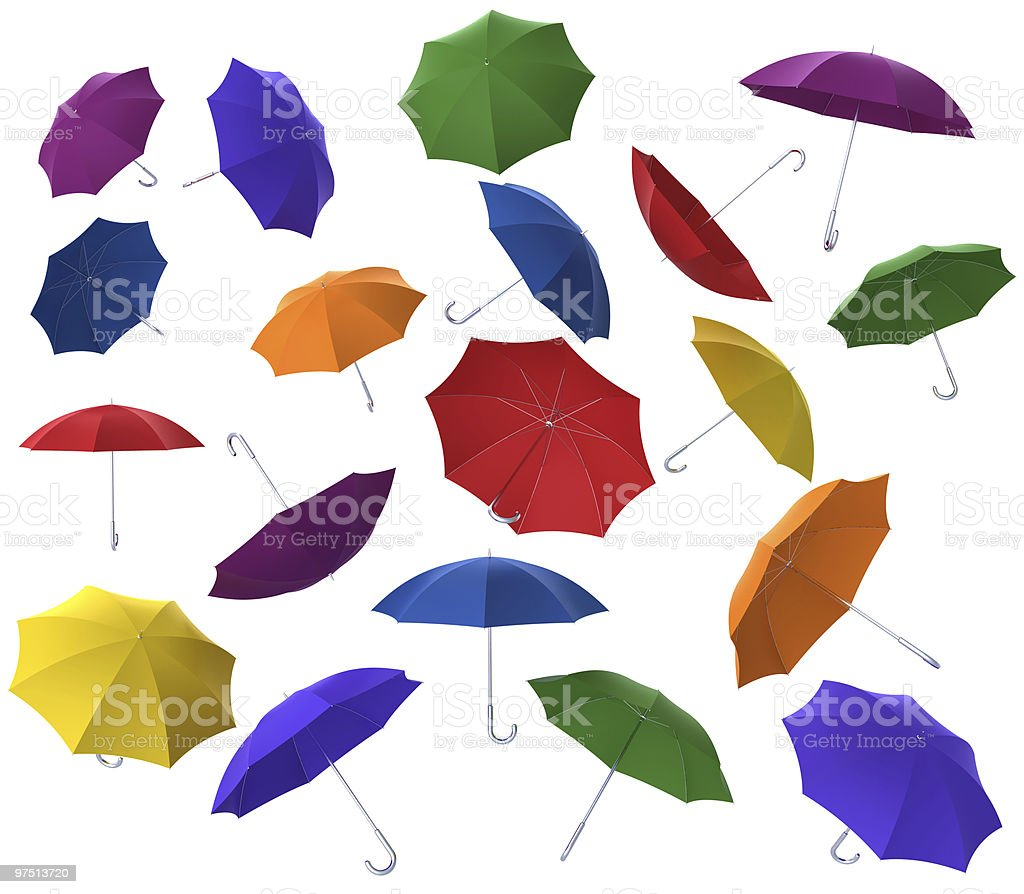 Many colorful flying umbrellas royalty-free stock photo
