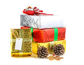 istock Many colorful gift boxs on white background 471989835