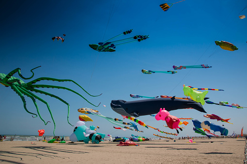 Many colorful kites in different shapes on the beach at Cervia international kite festival
