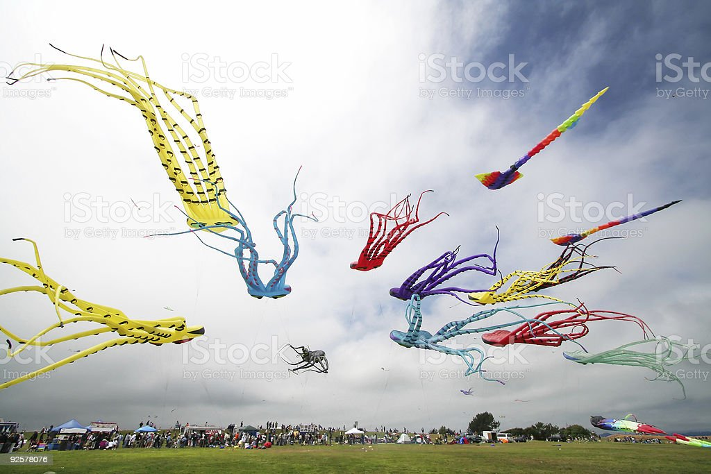 Many colorful kites of octopuses flying in the sky stock photo