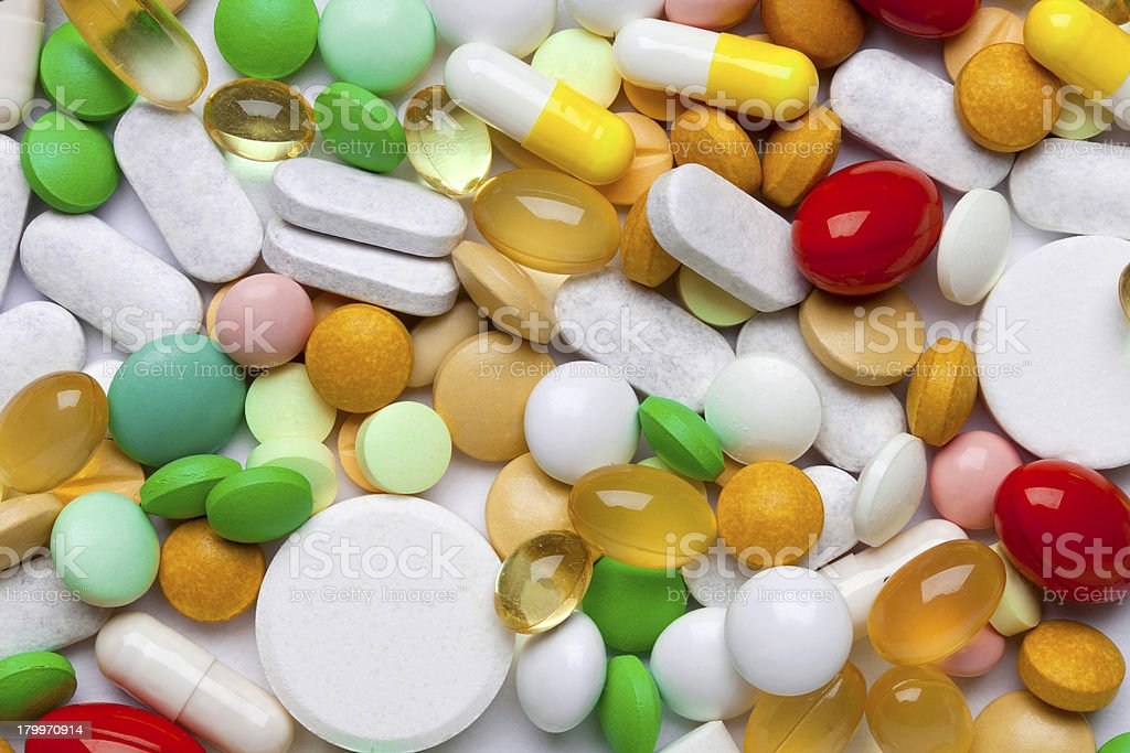 Many colorful medicines royalty-free stock photo