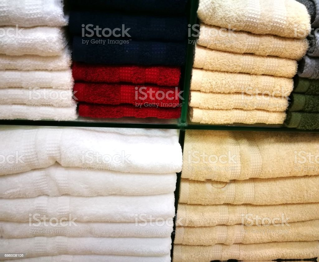 Many colorful towel in a shop royalty free stockfoto