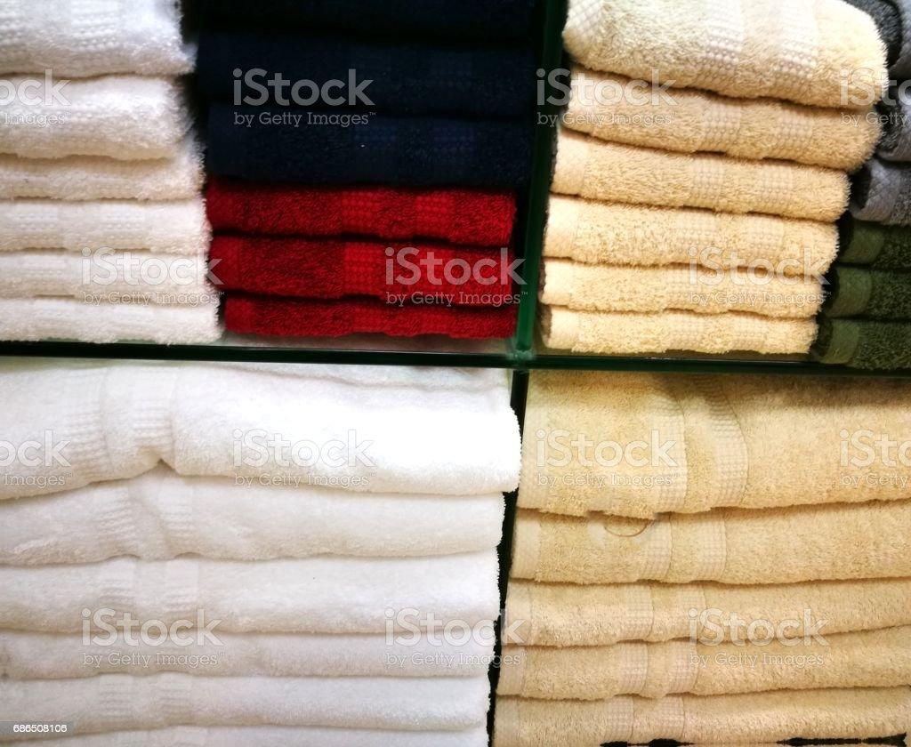 Many colorful towel in a shop zbiór zdjęć royalty-free