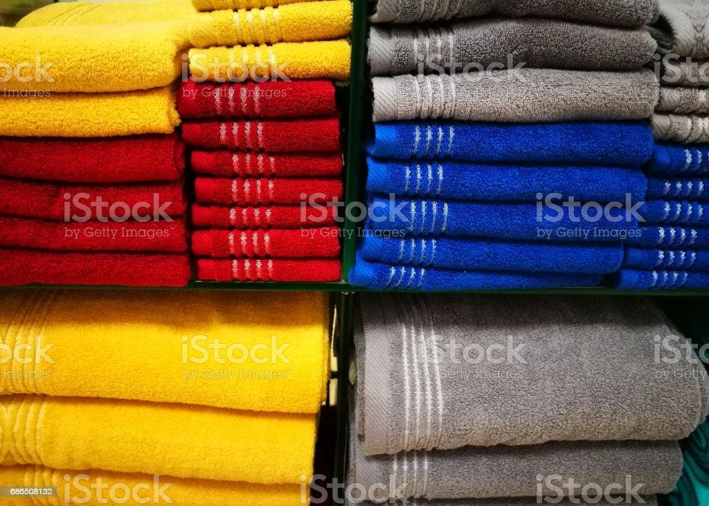 Many colorful towel in a shop foto de stock libre de derechos