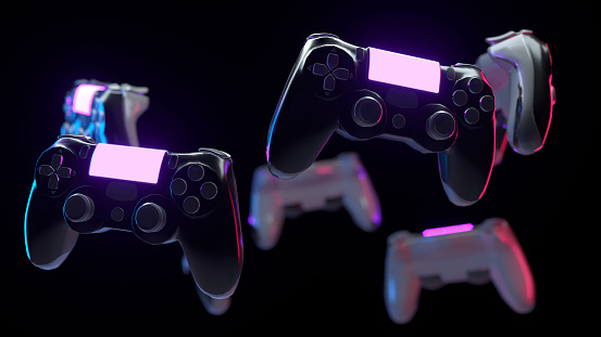 Many console gamepads on black background. Game controller with neon lights