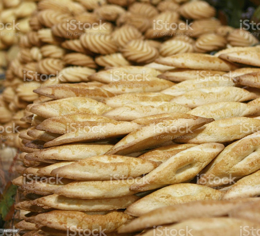 Many Cookies For Sale at a Bakery in France stock photo