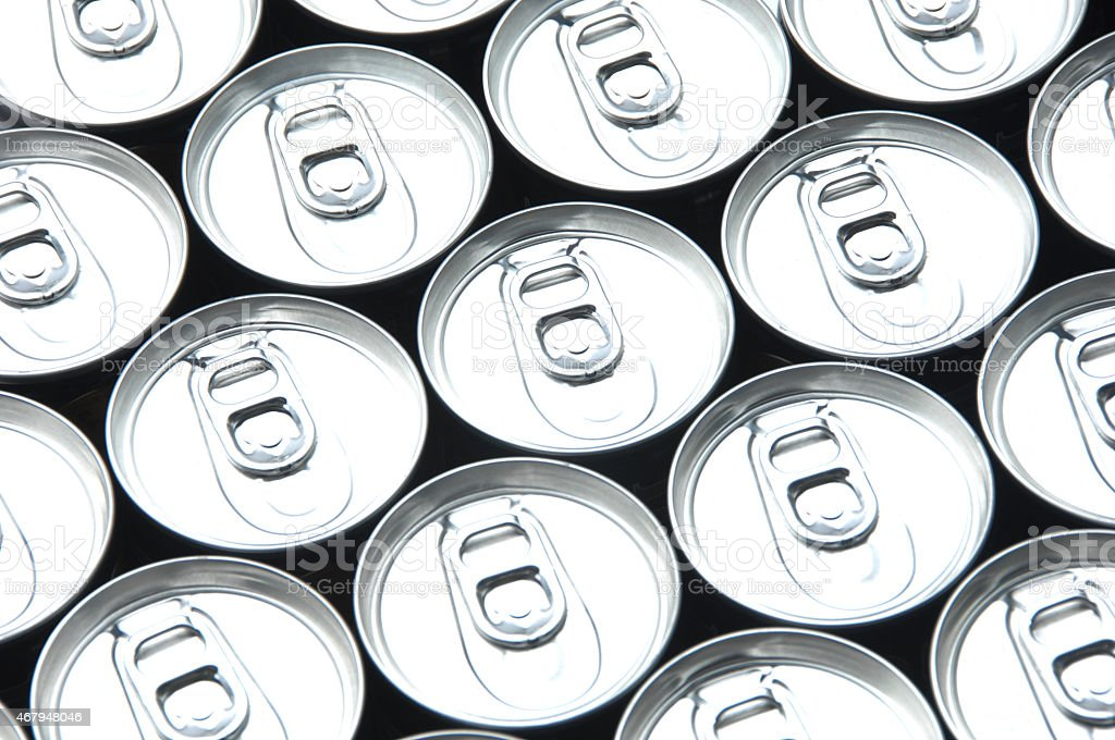 Many cooled cans stock photo