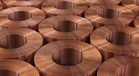 Many copper bobbins, warehouse copper pipes. 3d illustration.