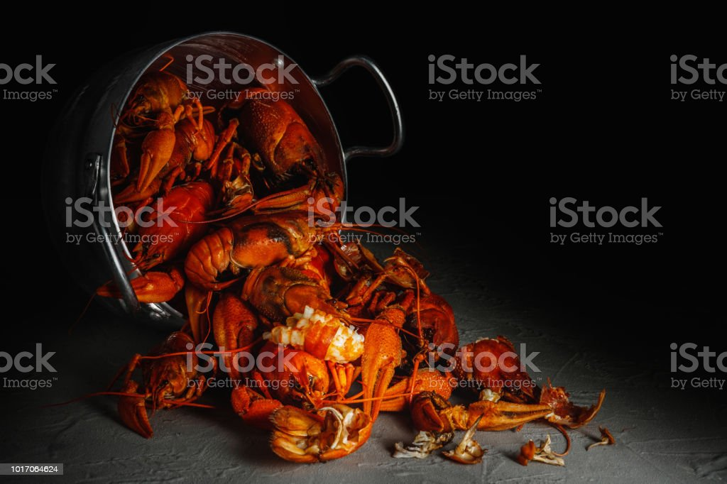 Many crawfish in an aluminium pan on a dark background. стоковое фото