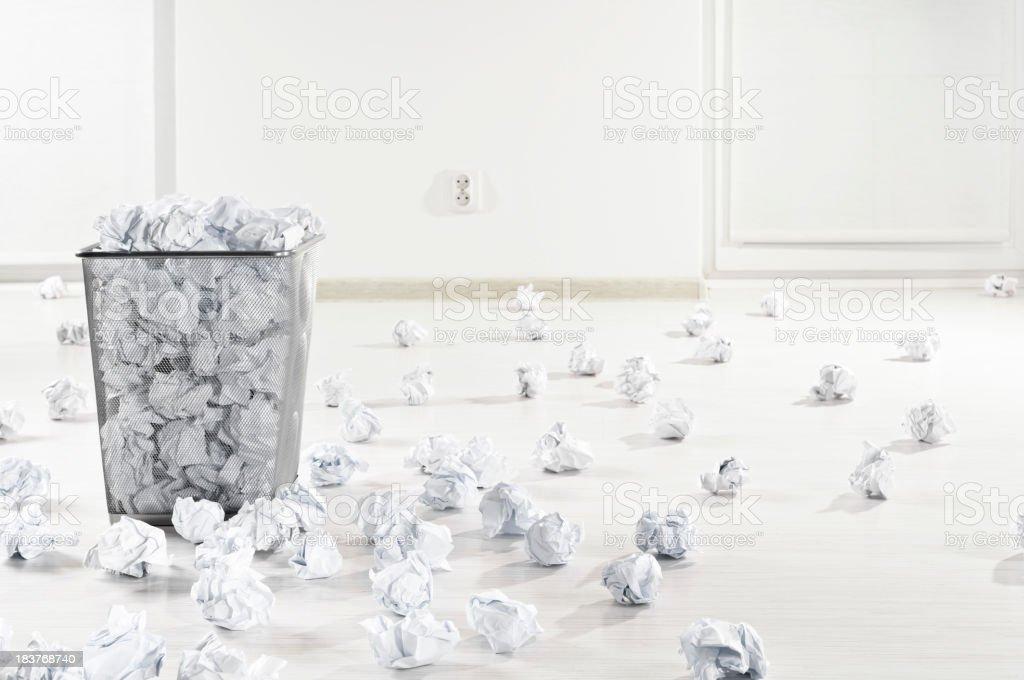 Many crumpled paper balls stock photo