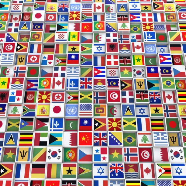Many Cubes with Flags from Around the World stock photo