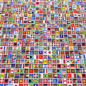 Large square formatted background made of cubes with flags from around the World.