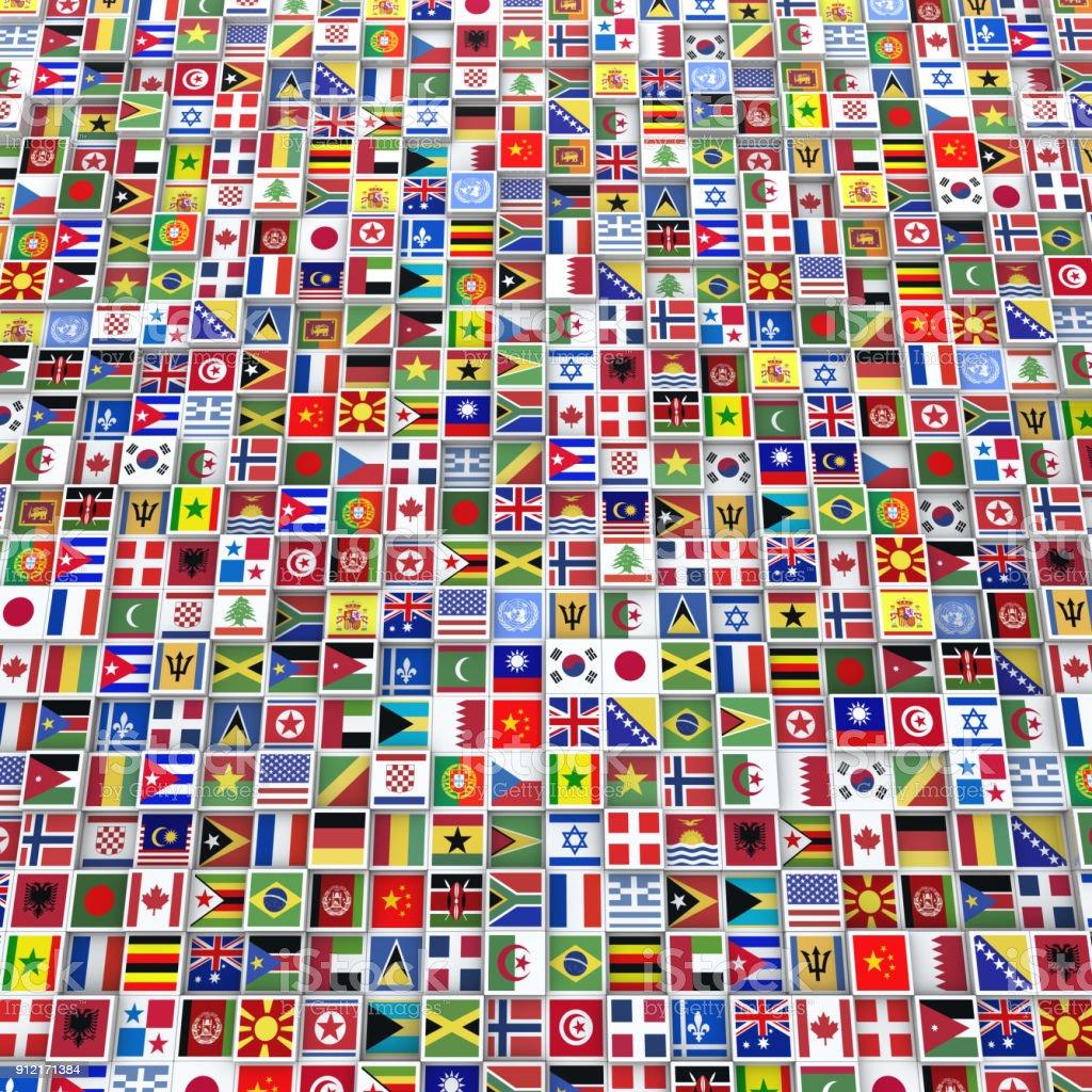 Muchos cubos con banderas de todo el mundo - foto de stock