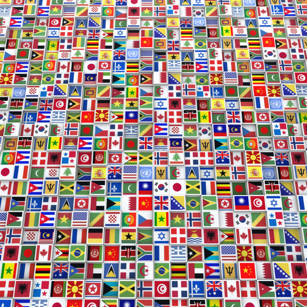 Many Cubes with Flags from Around the World Large square formatted background made of cubes with flags from around the World. national flag stock pictures, royalty-free photos & images