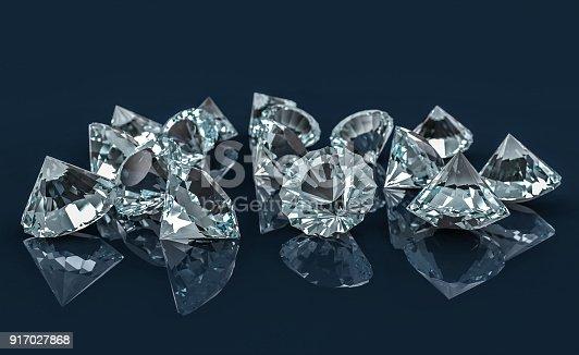 istock Many diamonds on reflective desk 917027868
