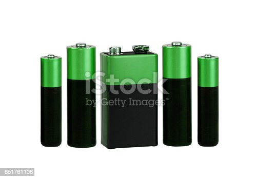 istock Many different batteries, type AAA, type AA, type PP3, white background, isolated 651761106
