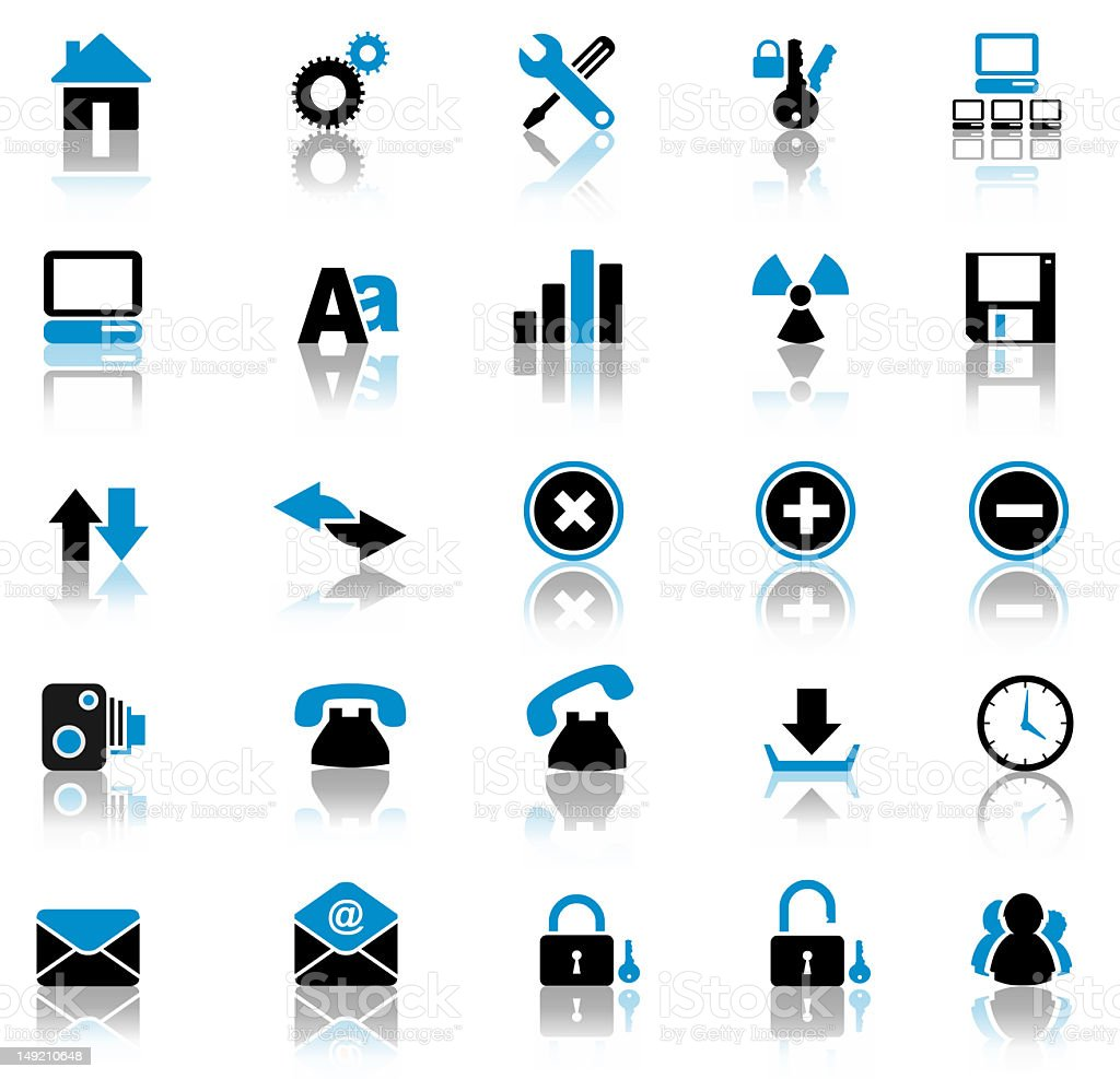 Many different black and blue reflective web buttons stock photo