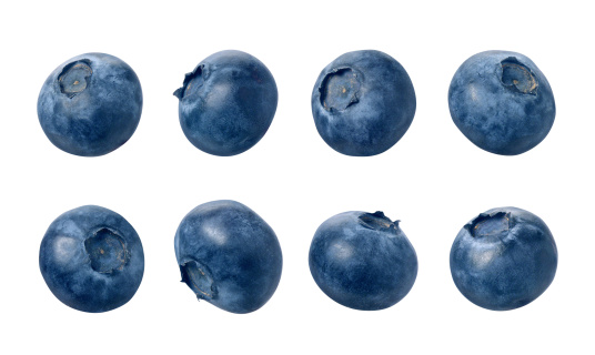 Eight blueberries photographed separately, at different angles.  Blueberries are small, dark blue, edible fruit. The berries are isolated on a white background.