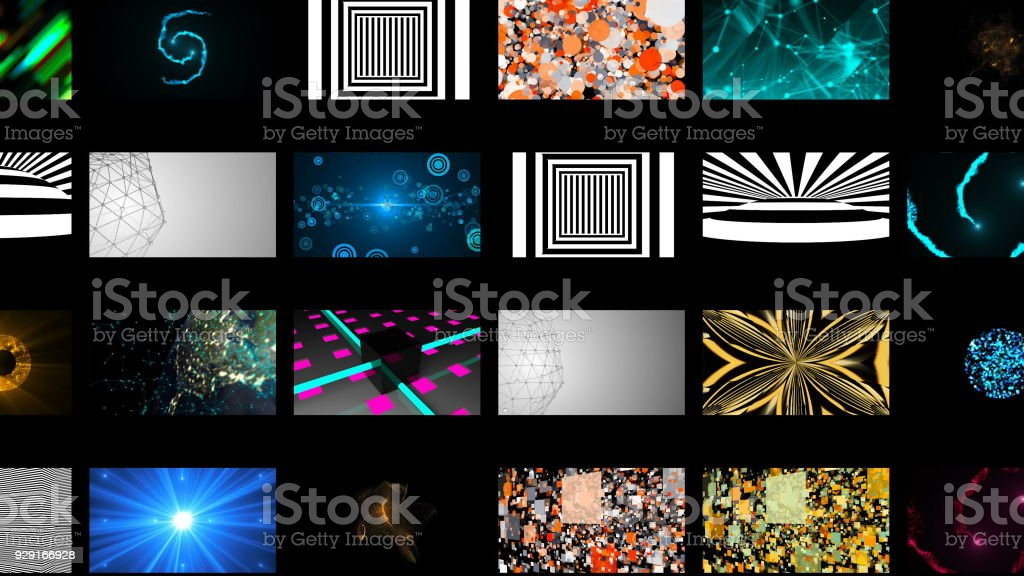 Many different bright abstract wallpapers in black space, 3d rendering stock photo