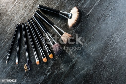 847152782 istock photo many different brush using cosmetic for makeup 847152602
