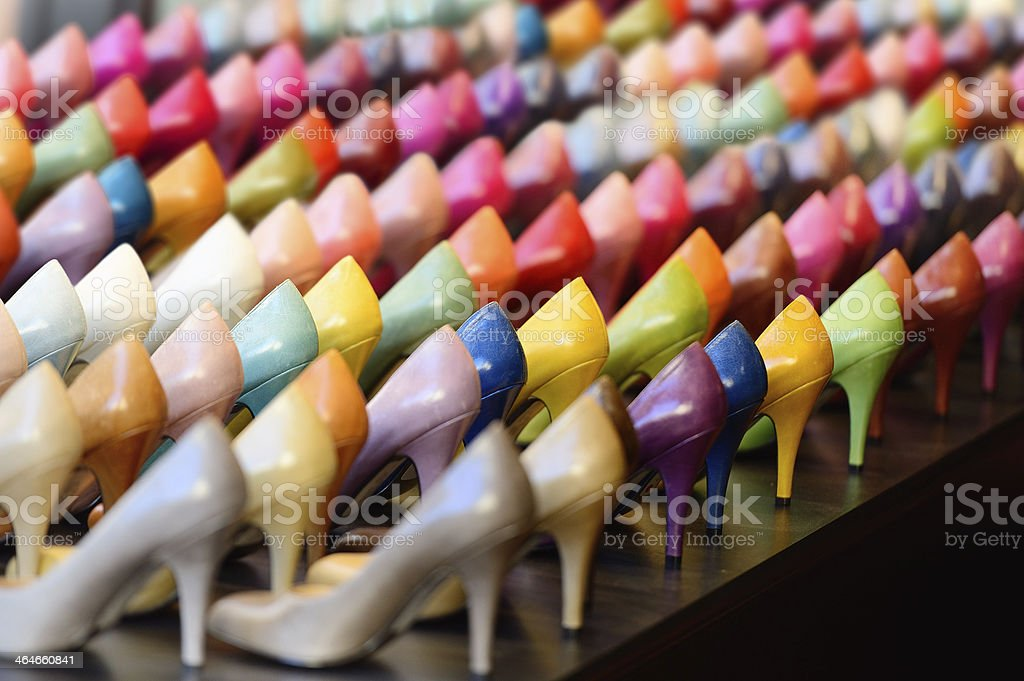 Many different colored heels on display stock photo