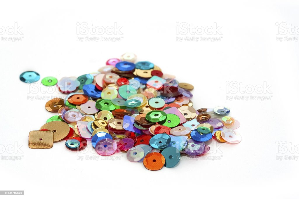 Many different colored sequins stock photo