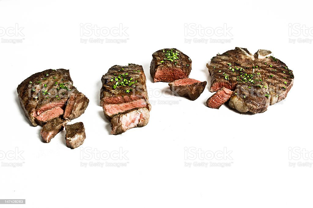 Many different cuts of steaks royalty-free stock photo