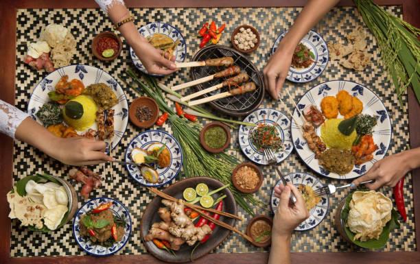many different indonesian food dishes. various indonesian bali food - kultura indonezyjska zdjęcia i obrazy z banku zdjęć