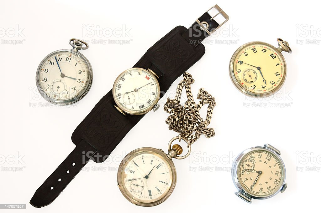 Many different old watches. royalty-free stock photo