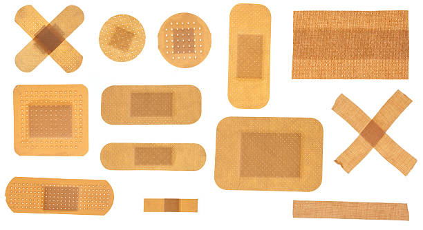 Many different plasters stock photo