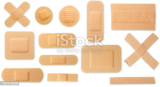 A lot of different plasters, all with clipping paths and isolated on a white background.