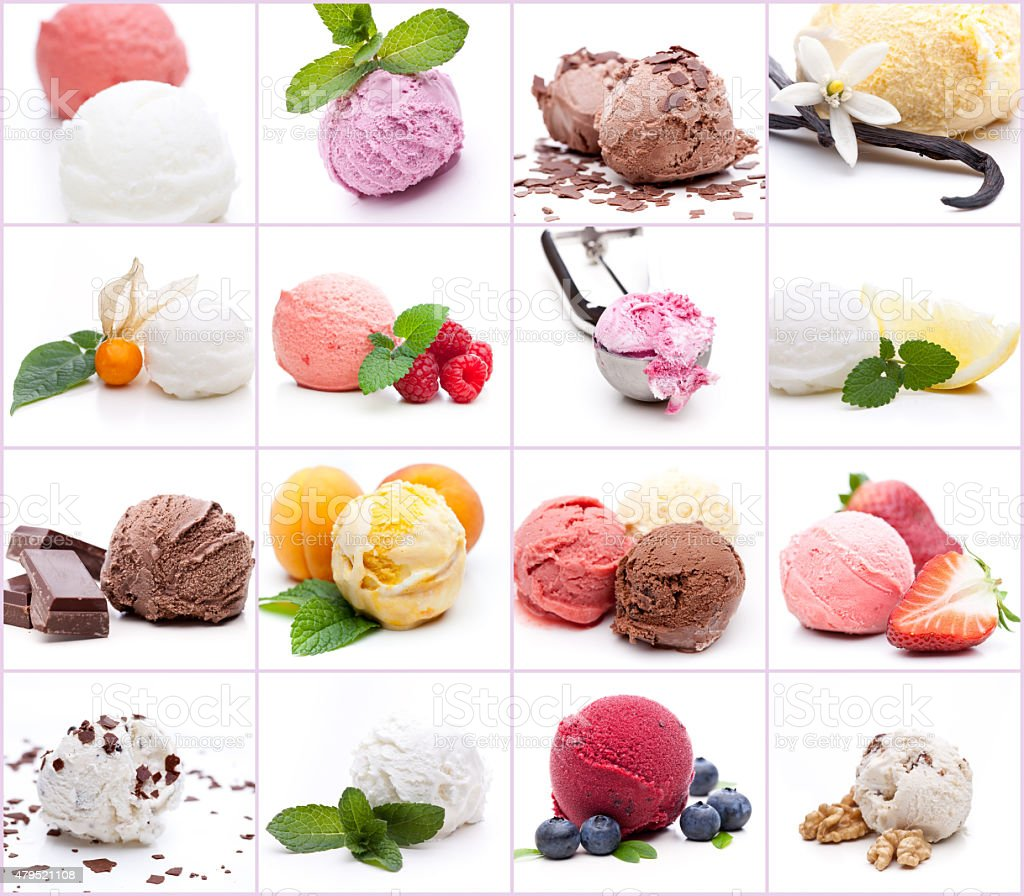 Many different scoops of ice cream stock photo