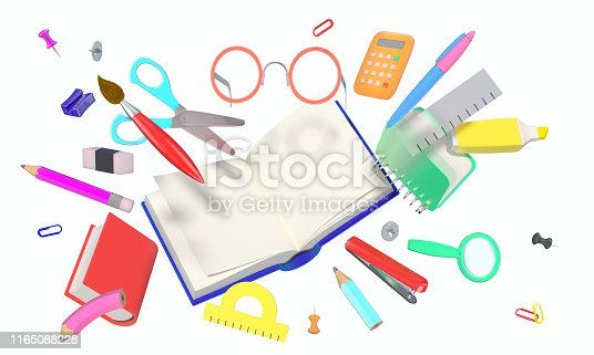 istock Many different stylized school related objects isolated on white 1165088228