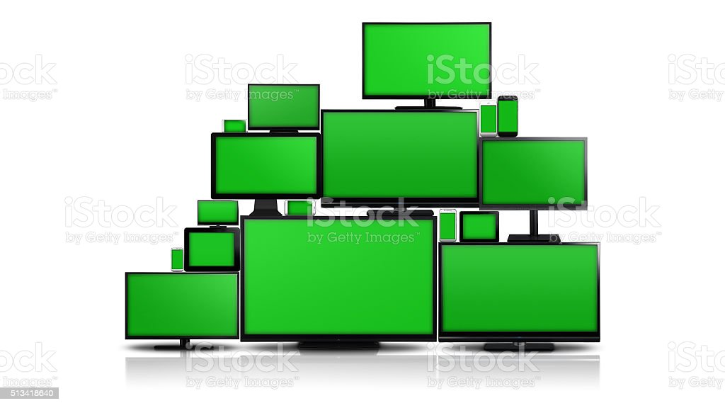 Many different types of screens with green screen stock photo