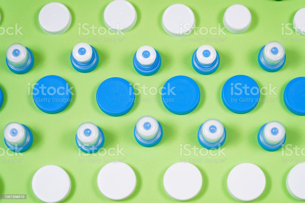 Many different types used or new battery, rechargeable accumulator, alkaline batteries on color background. stock photo